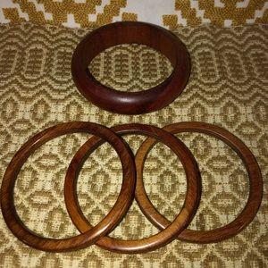 4 wood bangle bracelets